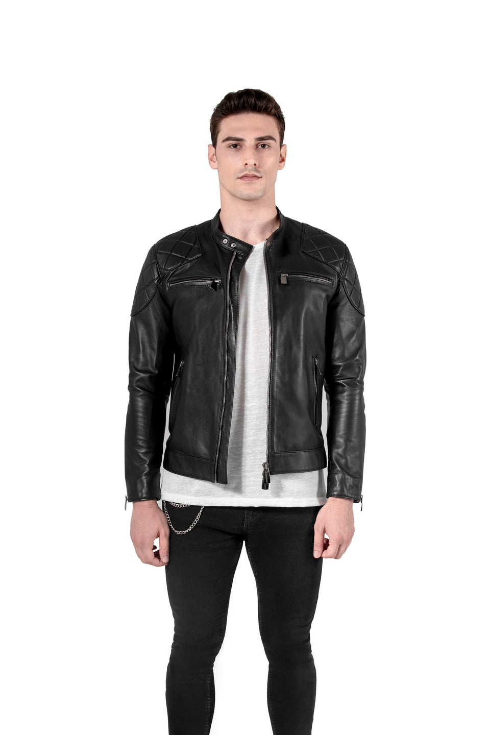 Vincent - Men's Black Soft Nappa Leather Jacket Online