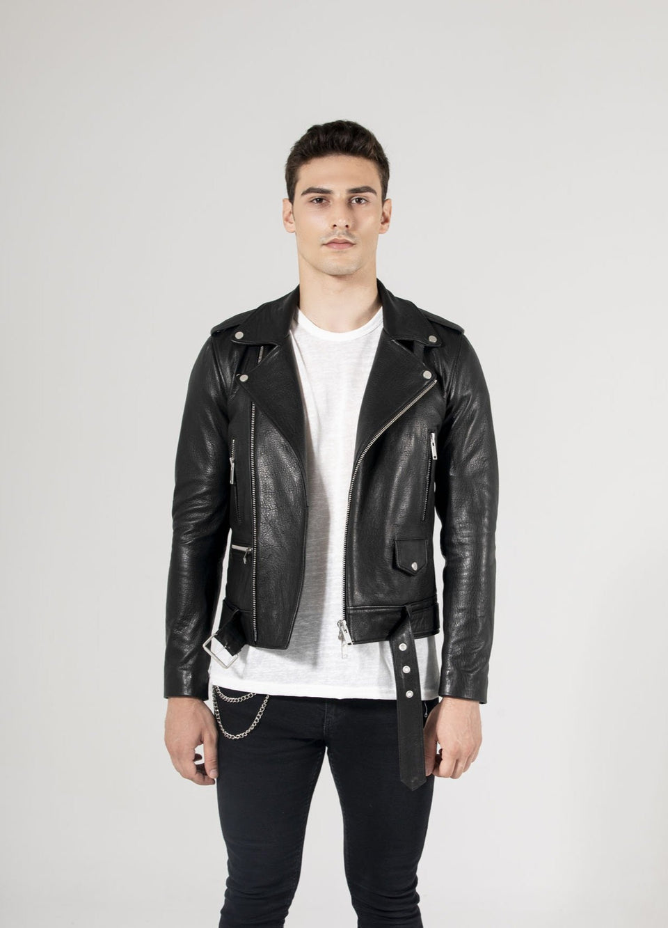 Chris - Black Stylish Zipper Laather Jacket For Men's 2020