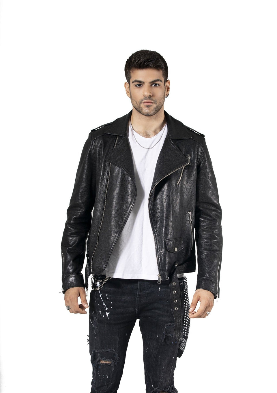 Black Martin V2 Genuine Leather Jacket For Men's