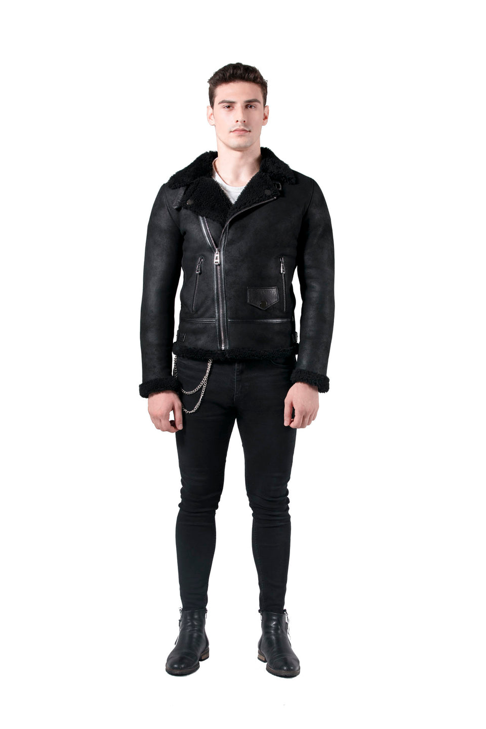 Lance - Men's Black Shearling Jacket 2020