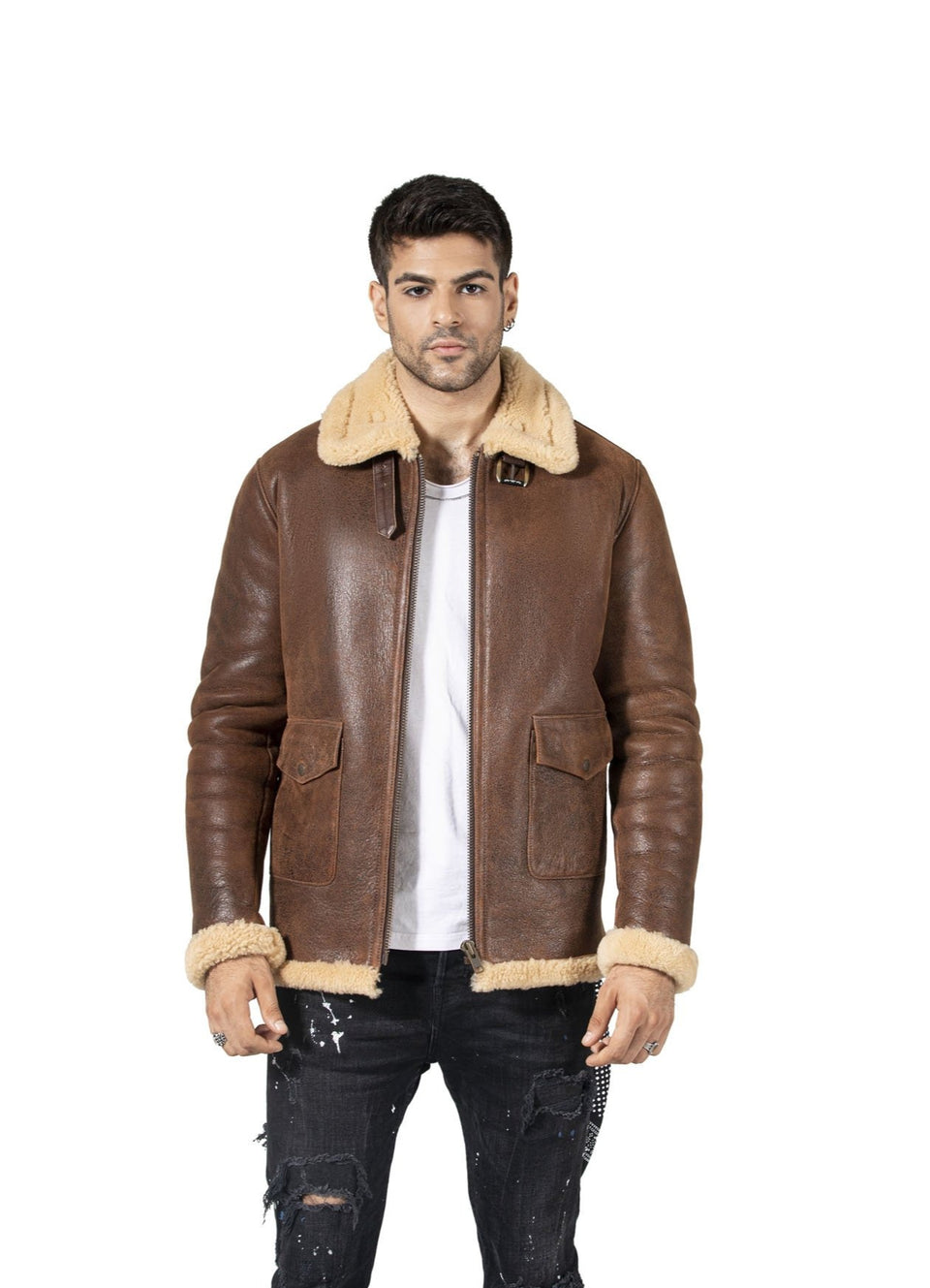 Cooper - Men's Shearling Jacket Brown