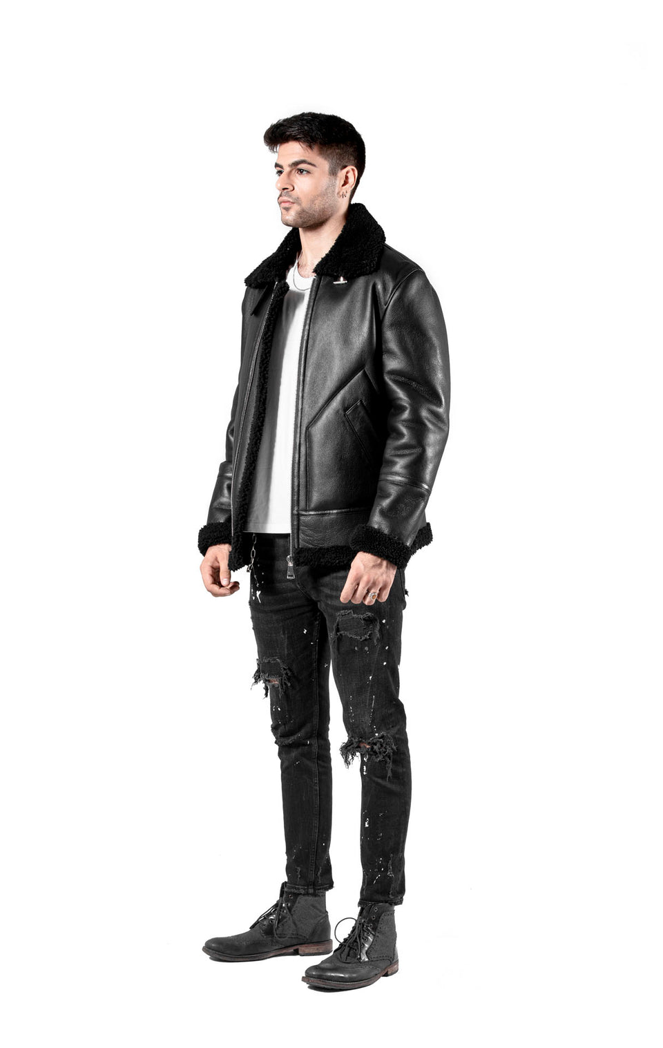 Vinly the Black Shearling Jacket For Men's - Zipper Jacket Fashion 2020