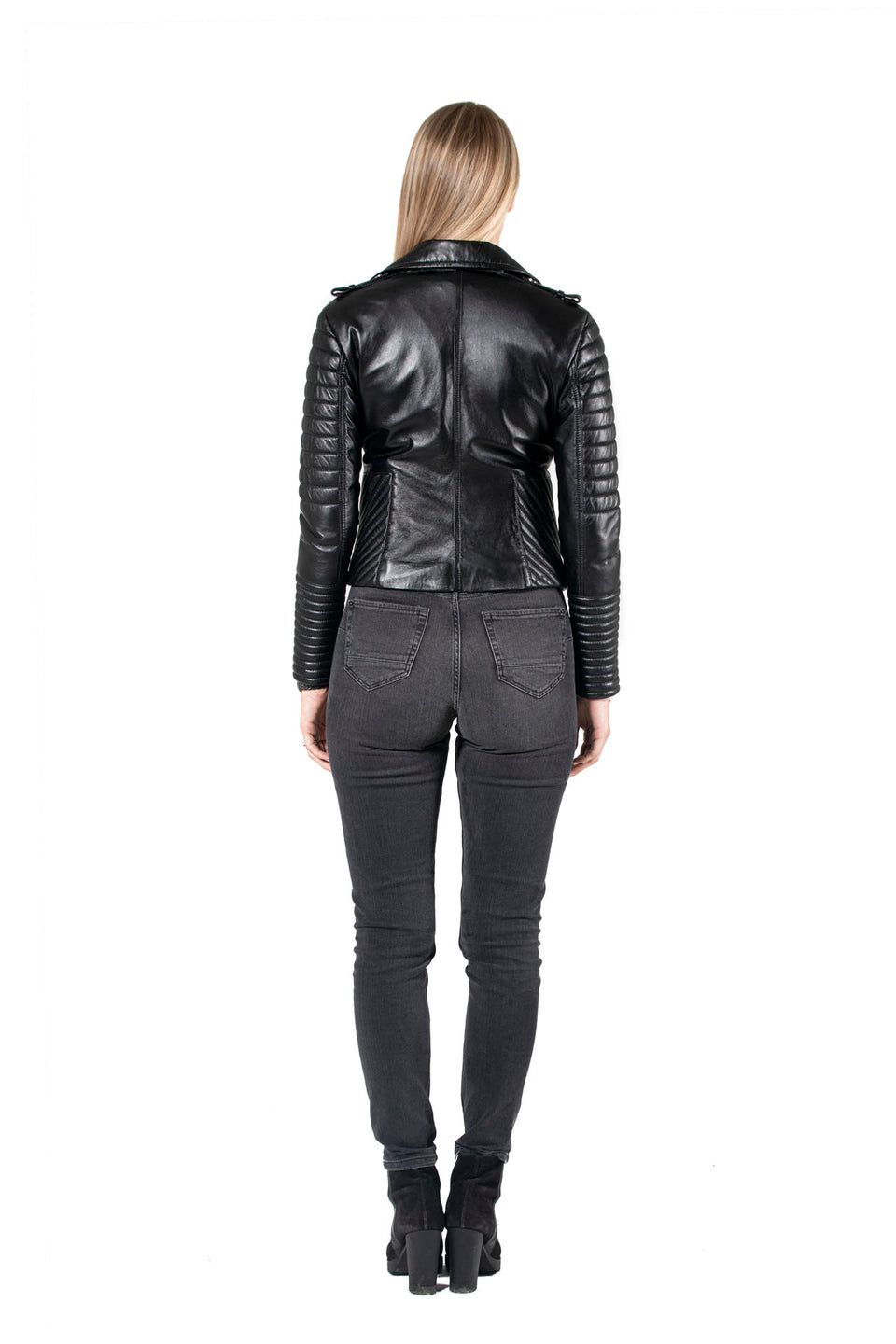 Case - Black Soft Nappa Leather Jacket For Women's