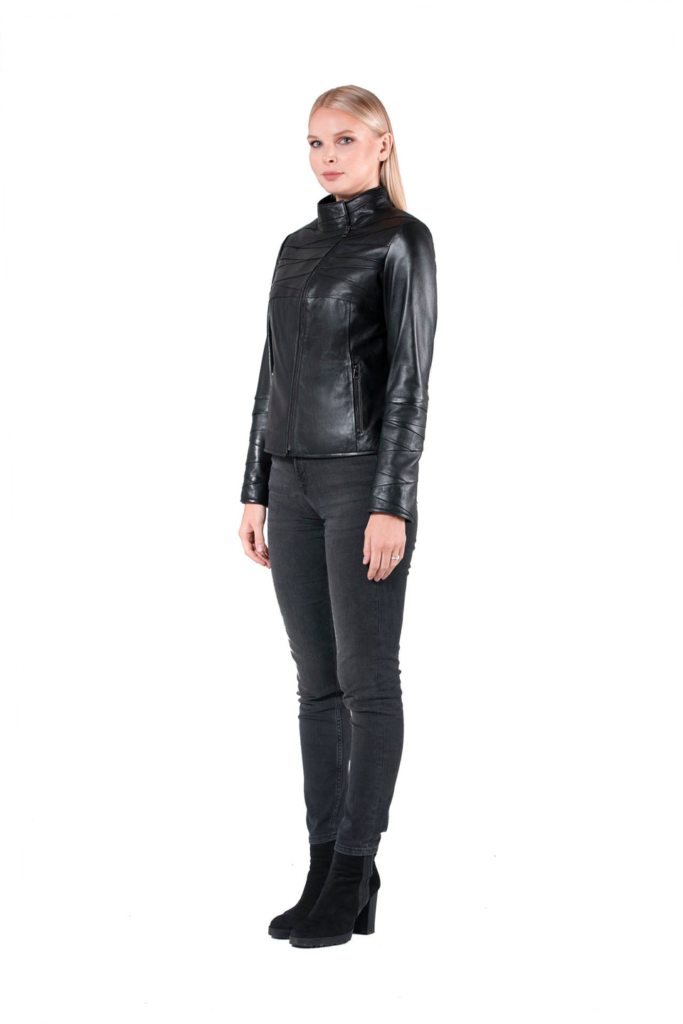 Julia - Black Leather Jacket For Women's - Soft Nappa Jacket