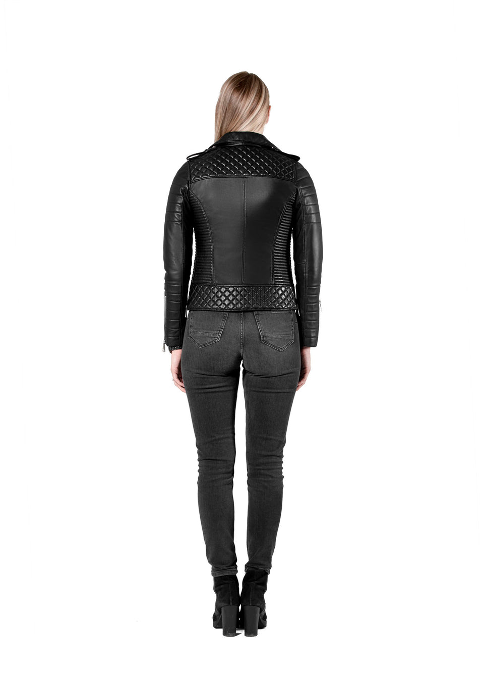 Elektra Black Leather Jacket For Women's