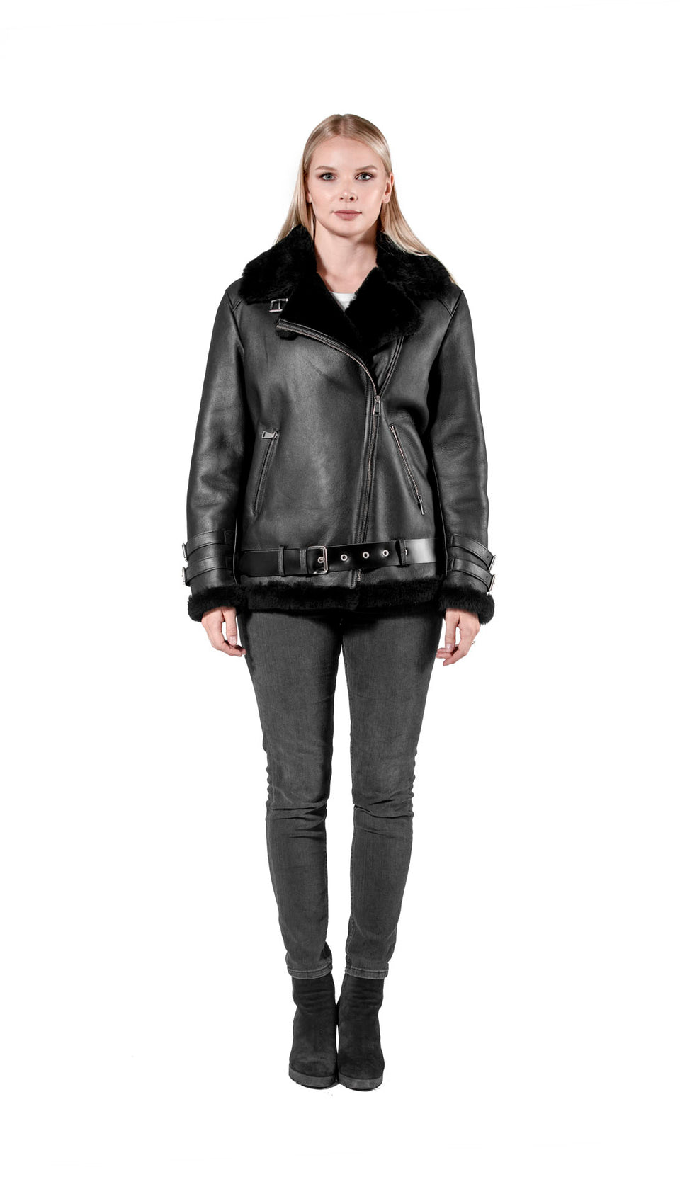 Myra Women Shearling Zipper Jacket Fashion 2020 - Black