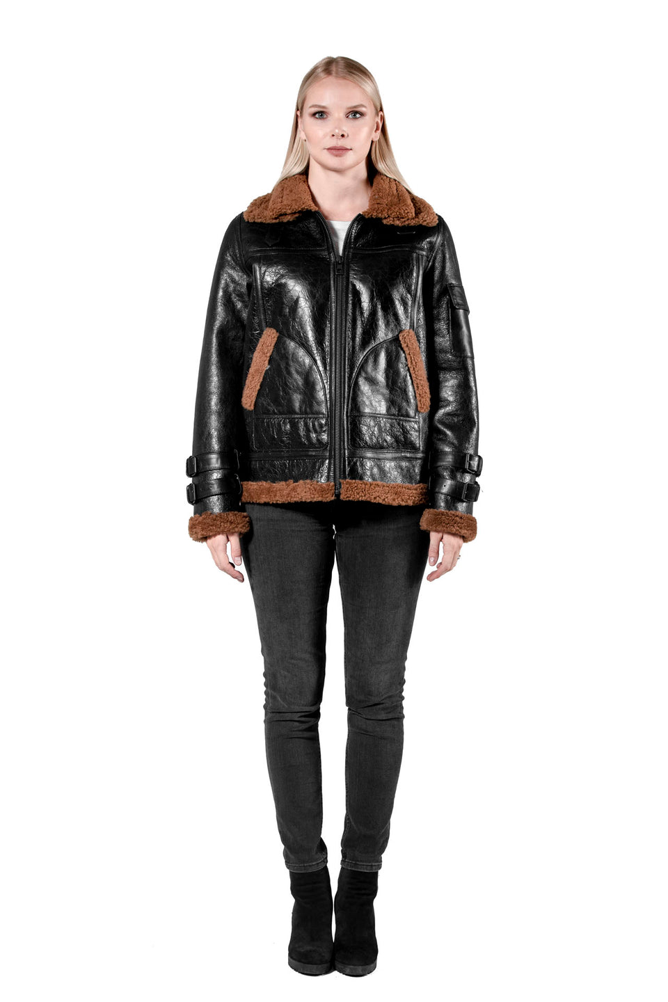 Regina Women's Shearling Jacket - Zipper Jacket 2020