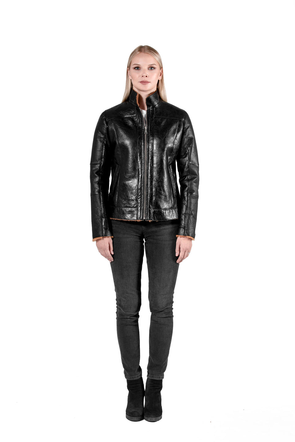 Laura - Women's Shearling Leather Jacket Black