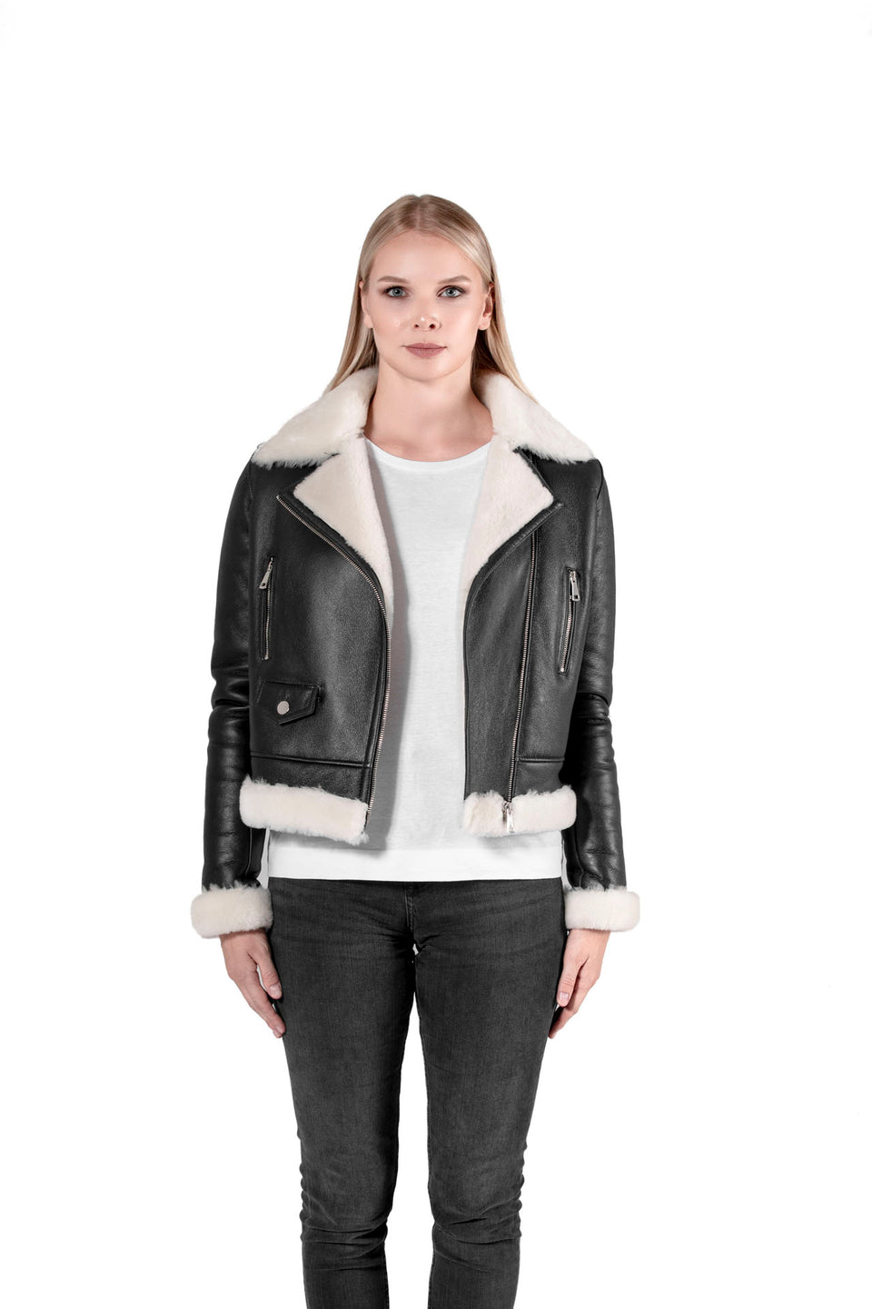 Allison Black Shearling Zipper Jacket For Women's Online