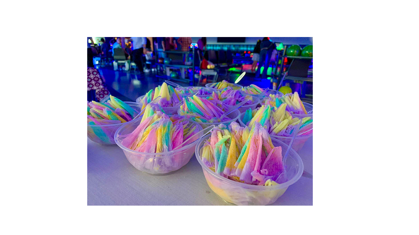 Rainbow shaved ice dessert in paddle pop flavour for events celebration and party