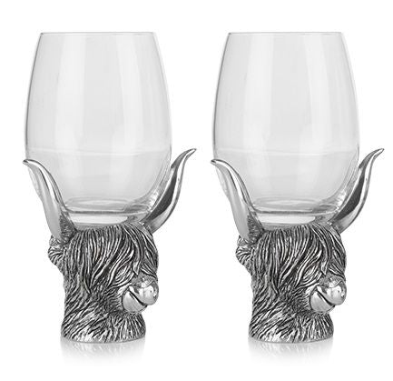 Highland Coo Pewter Glass Pair