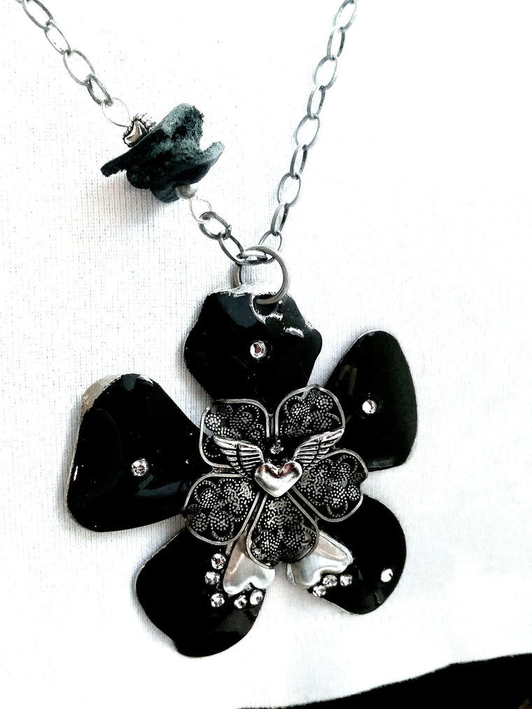 Black Rhinestone Heart Wing Necklace