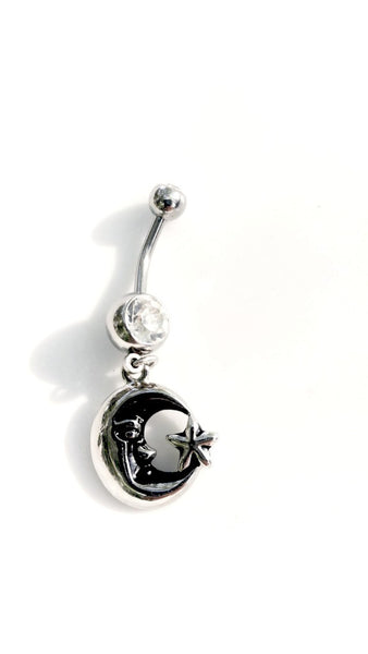 Celestial Moon & Star Belly Button Ring