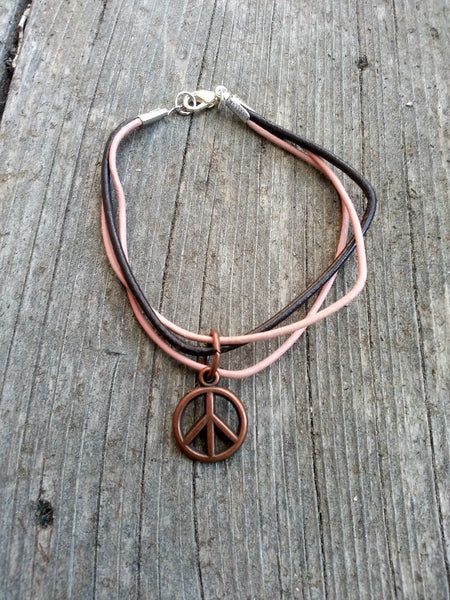 Pink Brown Leather Bracelet - Peace Sign