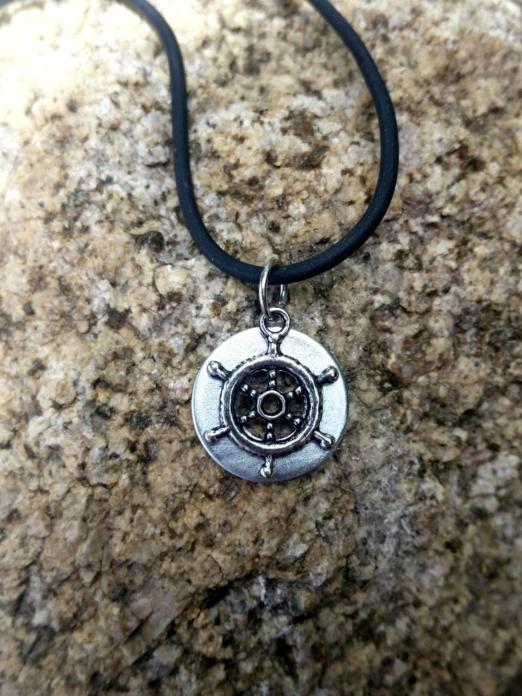 Upcycled Ship Wheel Necklace - Nautical Jewelry