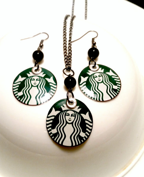 Upcycled Starbucks Necklace Earring Set -  *Featured ELLE Magazine!*
