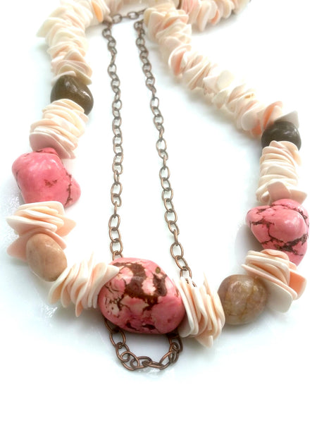 Pink Stone Statement Necklace