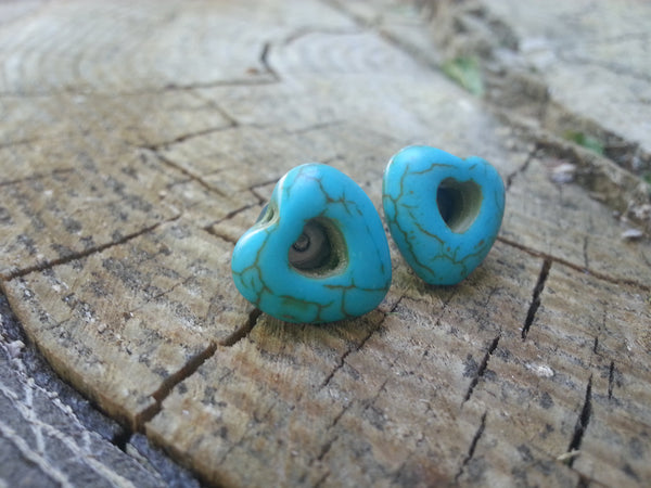 Turquoise Heart Post Earrings