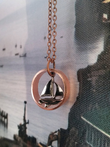Sailing in Copper Necklace - Upcycled