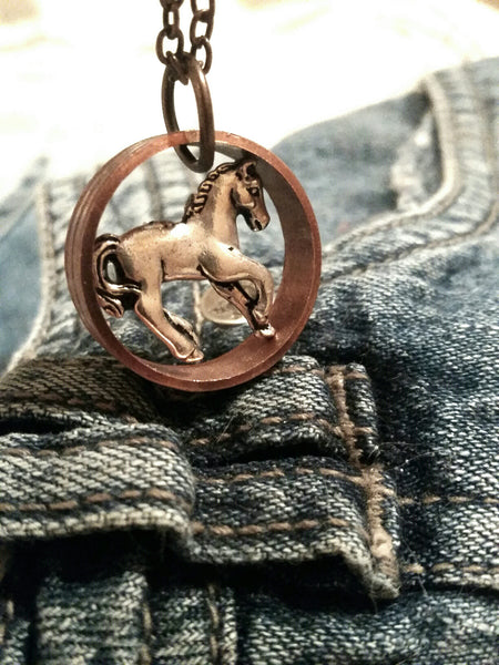 Copper Horse - Upcycled Necklace