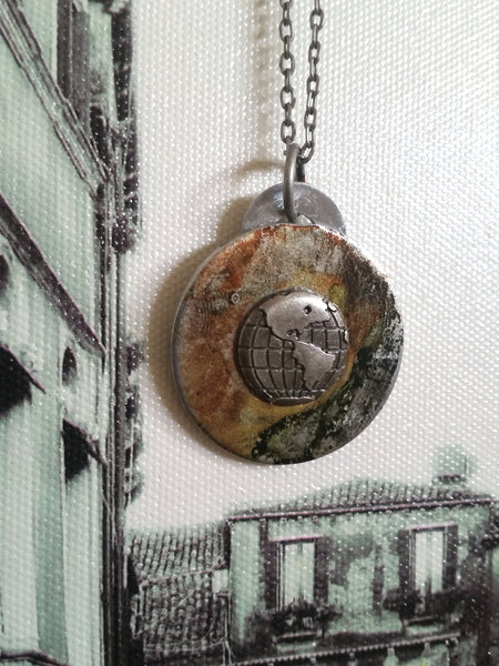Travel Pendant - Upcycled Necklace