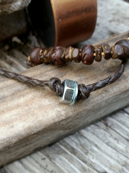 Mens Bracelet - Bead or Hardware Leather