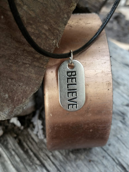 Believe Leather Necklace - Inspirational Mens