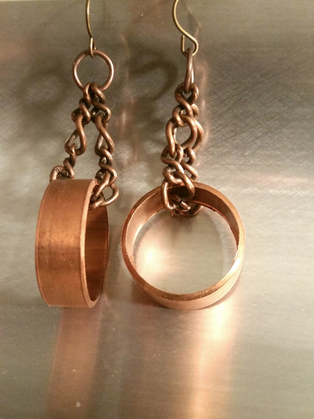 Copper Circle Earrings  - Upcycled