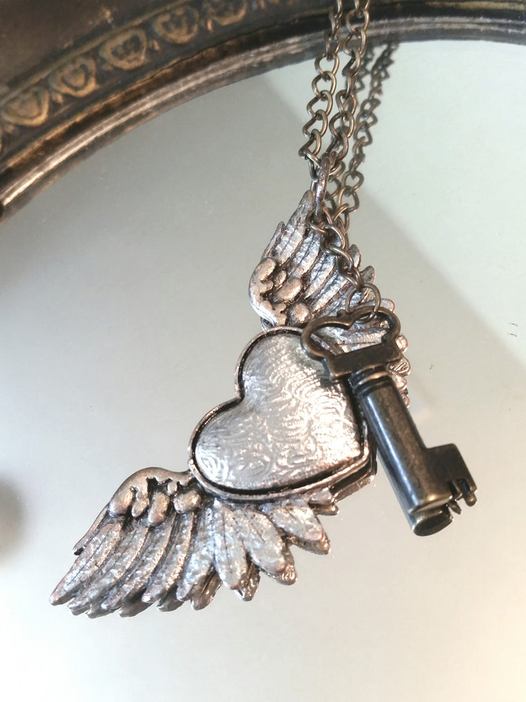 Heart & Wings to Fly - Long Chain Steampunk Key Necklace