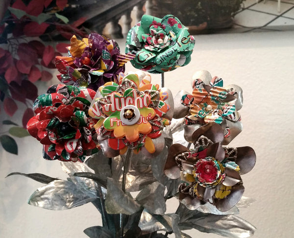 Bouquet Recycled Arizona Tea Flowers - Set of 6
