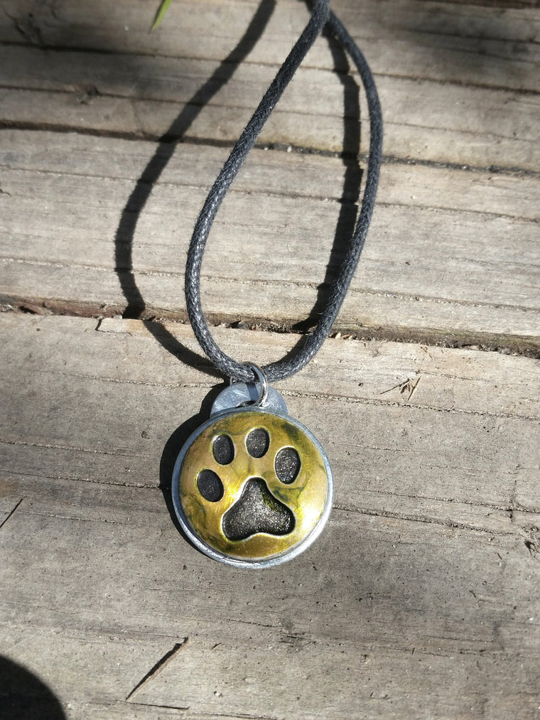 Paw Print Necklace- Upcycled