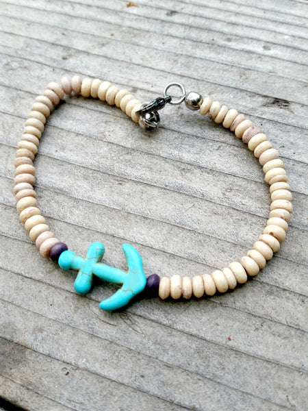 Mens Anchor Bracelet - Wood Bead