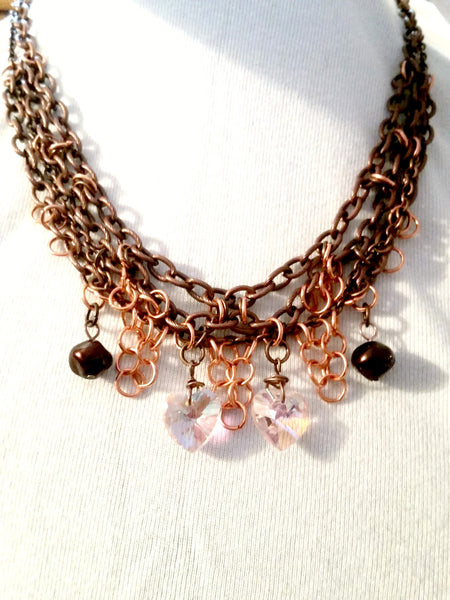 Iridescent Heart Multi Chain Necklace