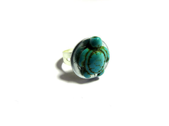 Turtle Ring - Upcycled Turquoise Ring