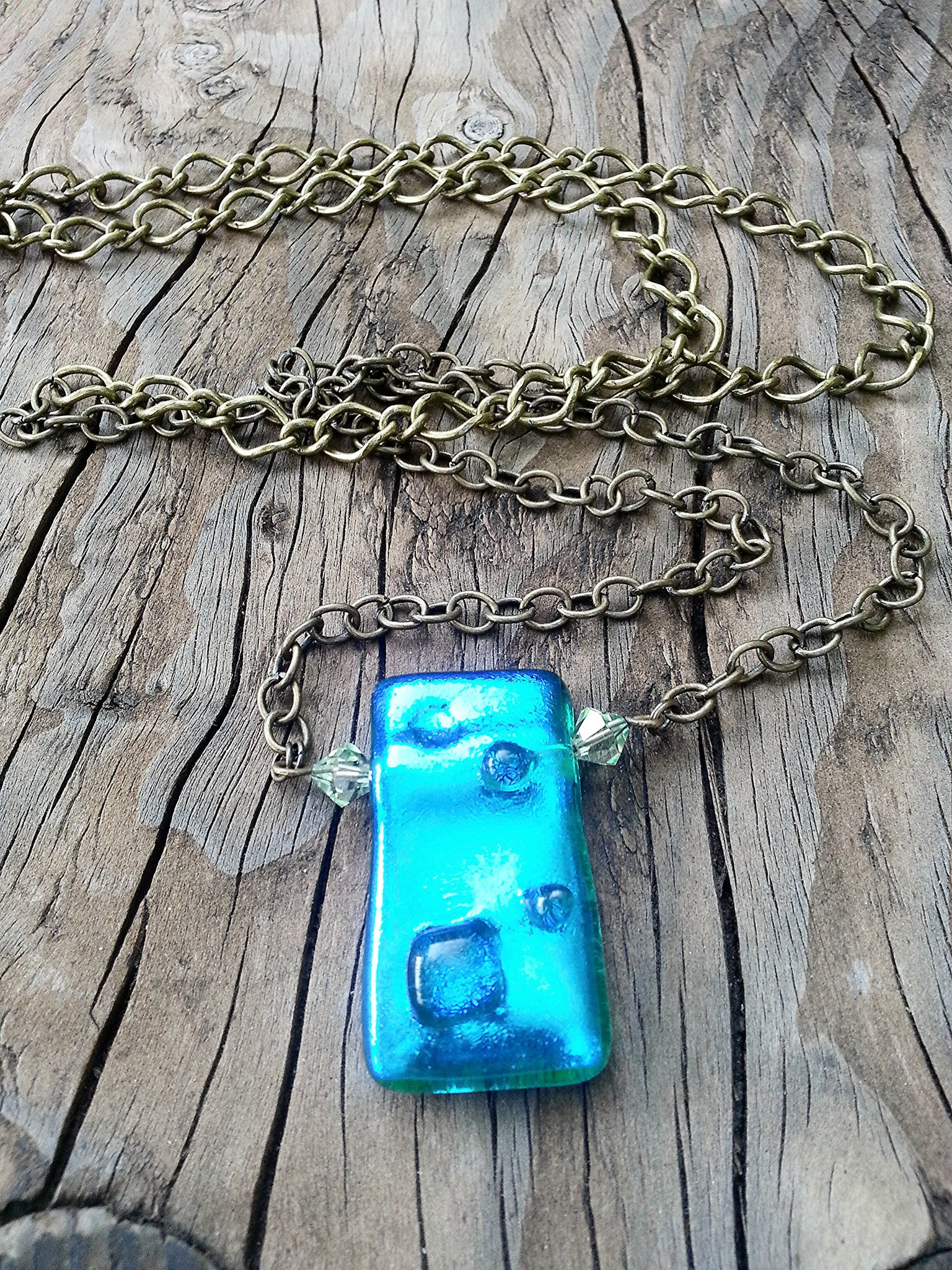 Blue Glass Pendant & Swarovski Crystal Bead Necklace