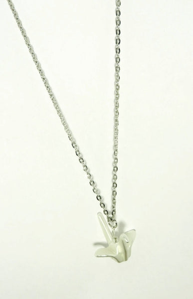 Origami Crane Charm Necklace
