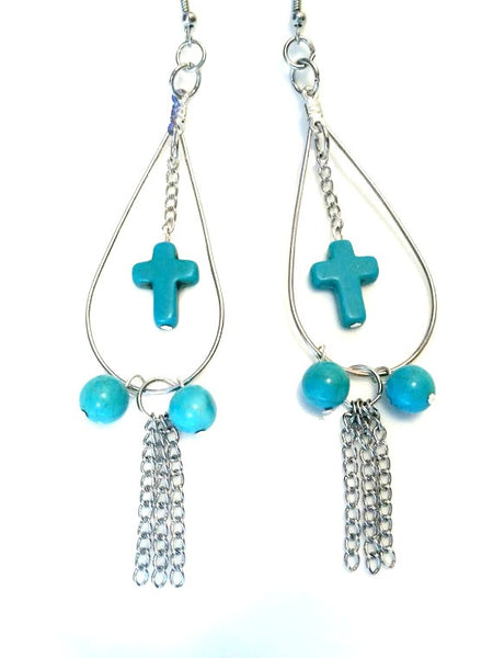 Cross Hoop Chain Earrings - Turquoise