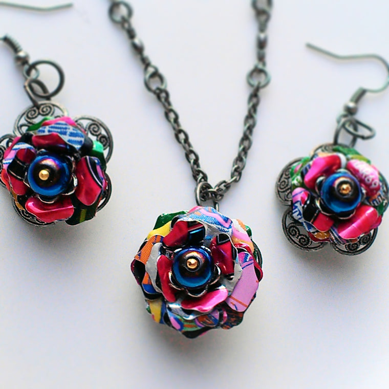 necklace set flower metal tone two index