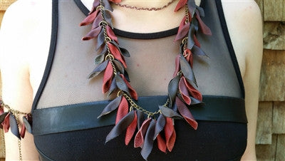 Upcycled Leather Statement Necklace