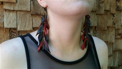 Leather Leaf Statement Earrings
