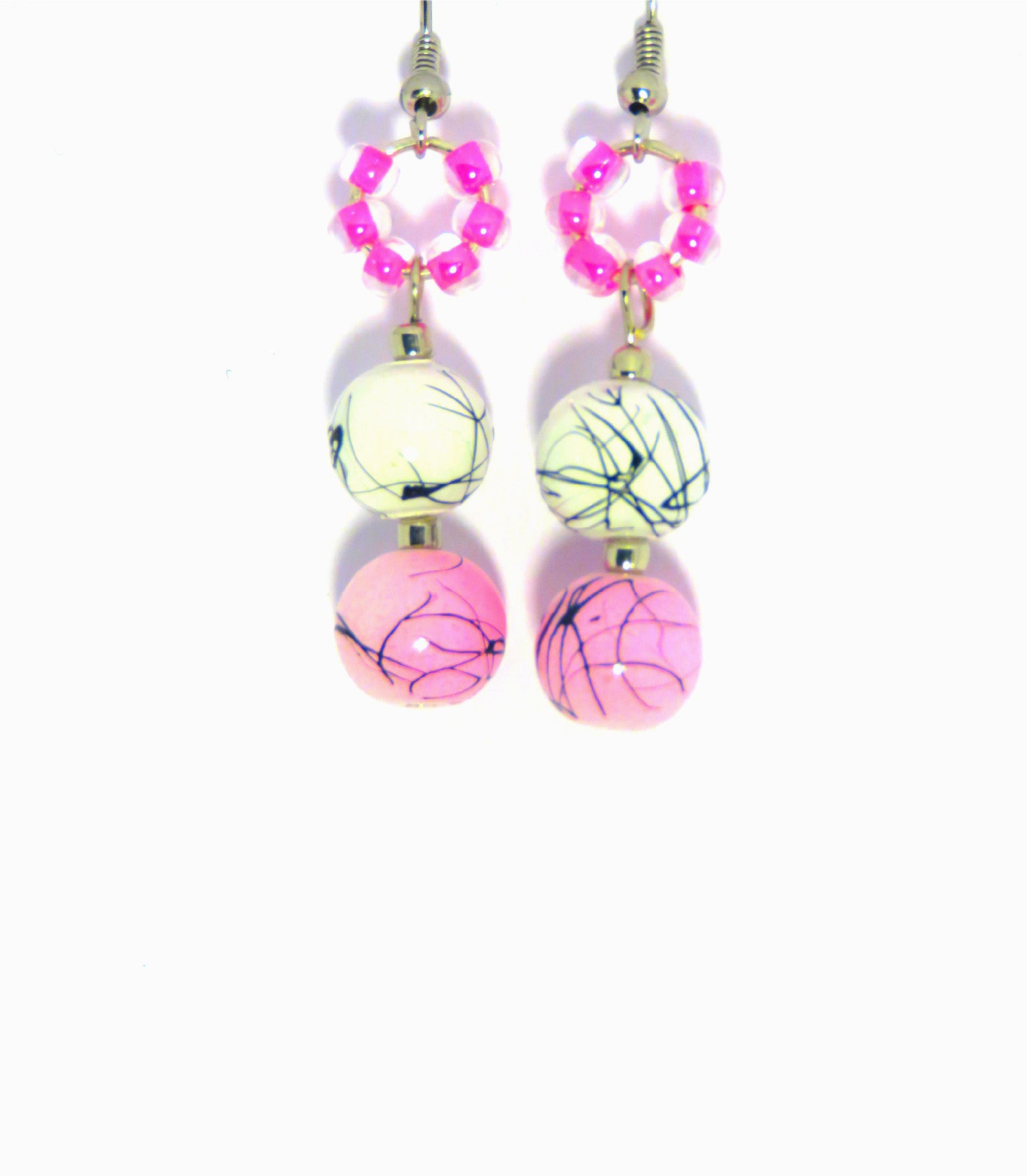 Pink and Black Splattered Earrings