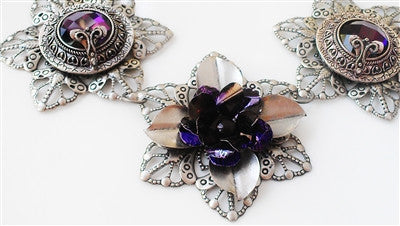 Deep Purple Delight - Recycled Flower Bib Necklace