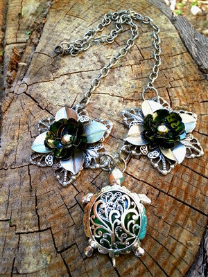 Emerald Turtle  - Statement Upcycled Flower Necklace