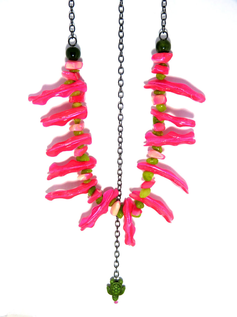 Hot Pink Shell Statement Necklace - Turtle Beach Jewelry