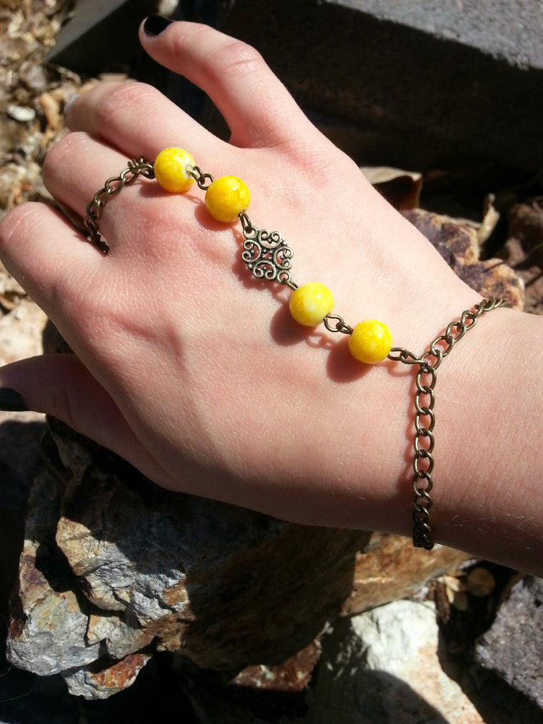 Yellow Beaded Hand Chain Bracelet