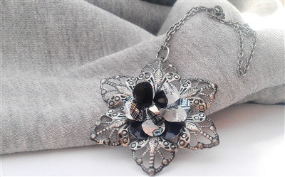 Antique Silver Black and White Star Necklace
