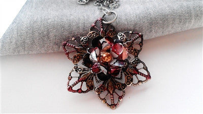 Cranberry and Black Star Necklace
