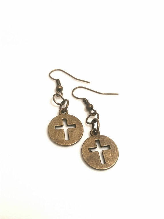 Brass Cross Earrings