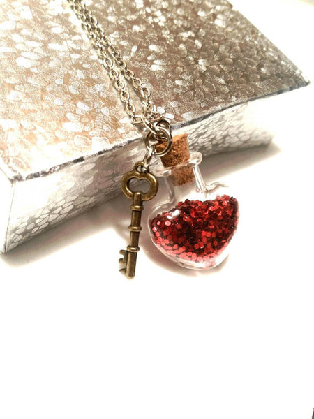 Glitter Red Heart Key Necklace