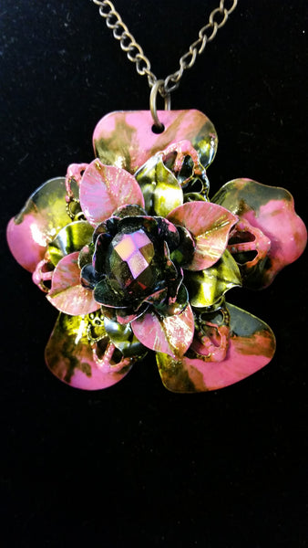 Pink Iridescent Flower Necklace - Upcycled Hand Dyed